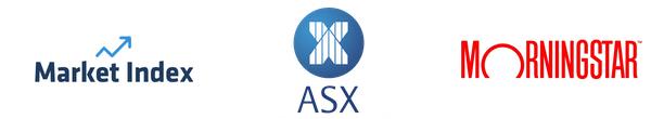 Market Index, ASX and Morningstar Logos